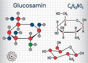 Strukturmodell und chemische Formel eines Glucosamin-Moleküls