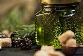 Pinienrinde in einem Glas
