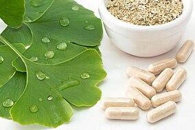 Ginkgo Blätter, Kapseln und Pulver in einer Schale