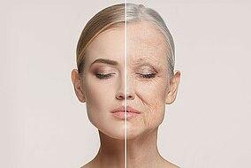 Vergleich von Gesichtshaut einer jüngeren Frau mit der einer älteren Frau