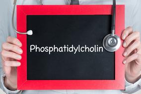 Arzt hält Tafel mit dem Wort Phosphatidylcholin in der Hand