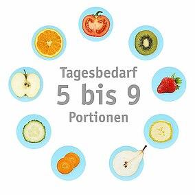 Ein Kreis mit Frucht- und Gemüsesymbolen und ein innerer Kreis mit Begriffen wie Vitamine, Gesundheit, Diät