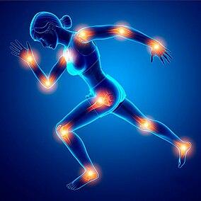 Illustrazione di un'atleta con le articolazioni evidenziate