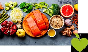 Gemüse, Obst, Nüsse, Öl, Reis und Fisch