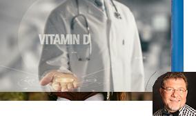 Bild mit der Aufschrift: Vitamin D, ein Arzt im Hintergrund